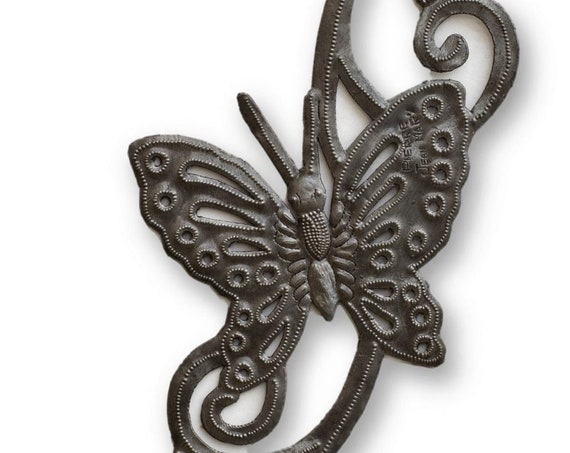 "Butterfly Wall Decor, Home Decorations and Gifts, Spring Wall Hanging Artwork, Handmade in Haiti from Recycled Steel Barrels 7"" x 20.5"""