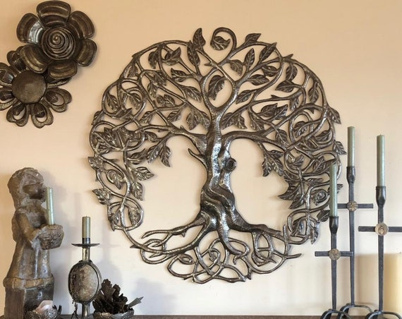 "Family Roots Tree of Life, Large Outdoor Wall Art, Quality Craftsmanship Recycled Metal Haiti, 33"" X 33"""