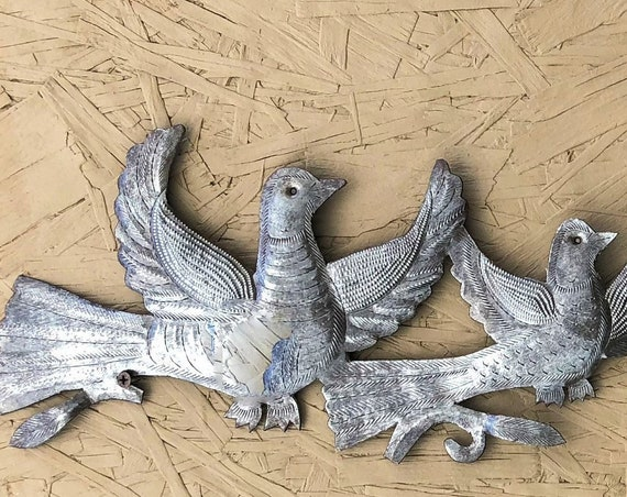 "Horizontal Birds Wall Art, Rustic farmhouse Home decor, 32"" x 8.5"""