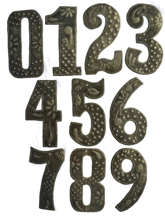 "Metal House Numbers ,Home Decor, or Anniversary Date, Hand Cut in Haiti, Rustic farmhouse decor,  7 5/8"" x 3 1/2"""