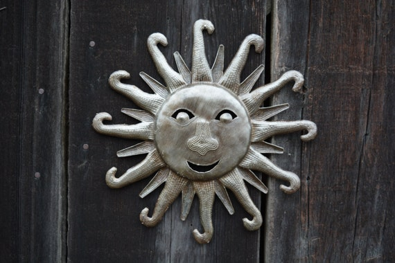 "Sun Face, Haiti Metal Art, Recycled Steel Handmade 11"" x 11"""