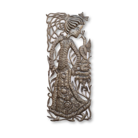Woman with Peacock, One-of-a-Kind Haitian Metal Sculpture, Fair Trade 33x14