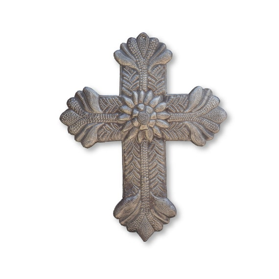 Flower Cross Handcrafted in Haiti, One-of-a-Kind Religious Haitian Metal Art 13x16