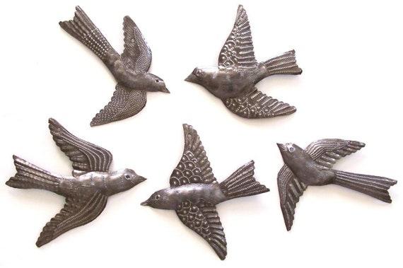 """5 Garden Birds, Handmade Metal Wall Art, Haiti, Folk Art, Bird Collectibles, Recycled Hammered Steel 3"""" x 3"""""""