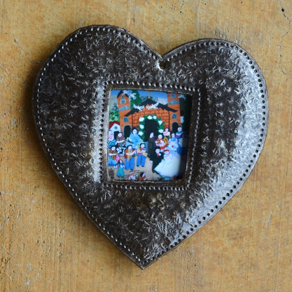 "Decorative Heart Ornament, Place Setting, Frame, Hang Tag, Teacher Gift, Recycled Metal Art from Haiti, 4"" x 4 1/2"" (sold in sets of 2)"