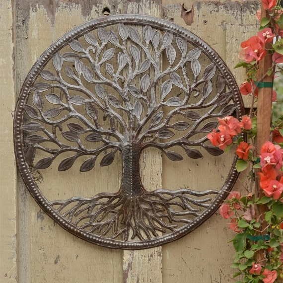 "Organic Tree of Life  Wall Art, Farm House Rustic Haitian Metal, Hand Hammered Steel, Garden Artwork, Recycled iron Barrel 23"" x 23"""
