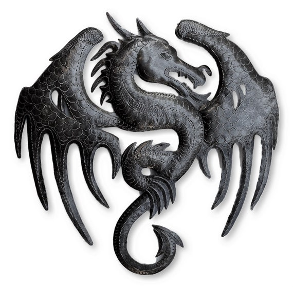 Dragon Wall Decor, Metal Dragons, Gargoyles Sculptures, Fantasy World, Unique Wall Hanging, Handmade in Haiti