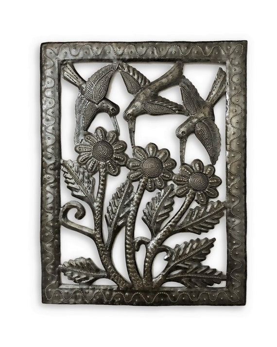 Small Hummingbirds and Flowers, Wall Plaque Frame Decor, Handmade in Haiti, 11 x 14 inches