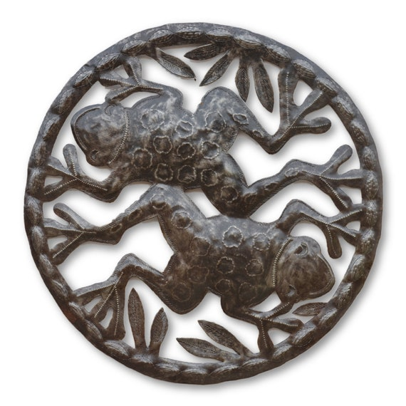 Twin Frogs in Pond, Decorative Backyard Plaques, Handmade in Haiti, Limited Edition 21 x 21 Inches