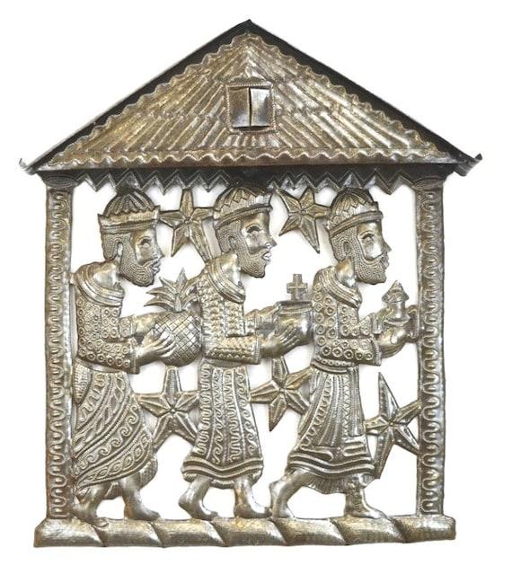 "metal art haiti The Epiphany, Three Kings, Nativity, Gifts of the 3 Wise Men, January 6th Holiday Wall Art from Haiti, 12"" x 14"""