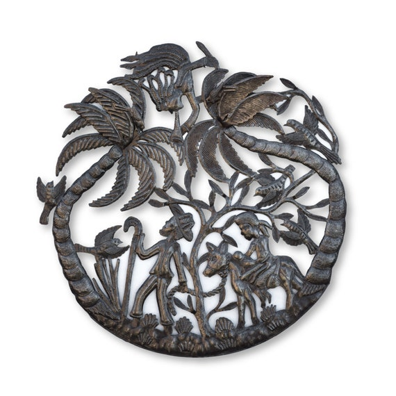Haitian Metal Art, Joseph and Mary Under Palm Tree, One-of-a-Kind Handcrafted Metal Sculpture 23x23in.