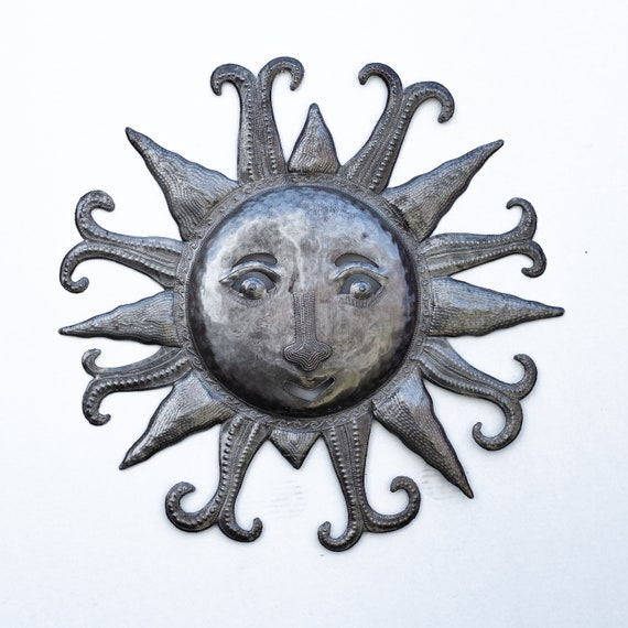 Cool Summer Sun, Decorative Wall Hanging Artwork, Handcrafted in Haiti From Recycled Metal, One-of-a-Kind 22.5x22