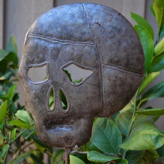 Skull Garden Stake, Day of the Dead Folk Art, Hand made in Haiti