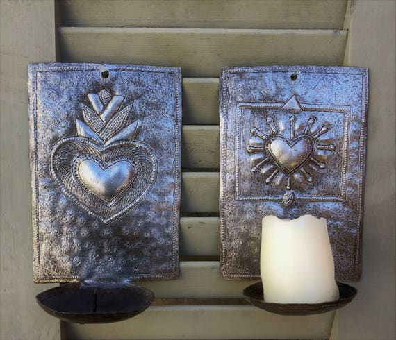 """Metal Heart Wall Sconce Candle Holder, Crafted in Haiti 4"""" x 6"""" x 3"""" (candles not included)"""