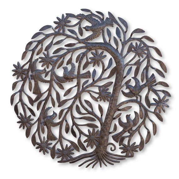 Curved Tree of Life with Birds Handcrafted in Haiti, One-of-a-Kind Art 34x34