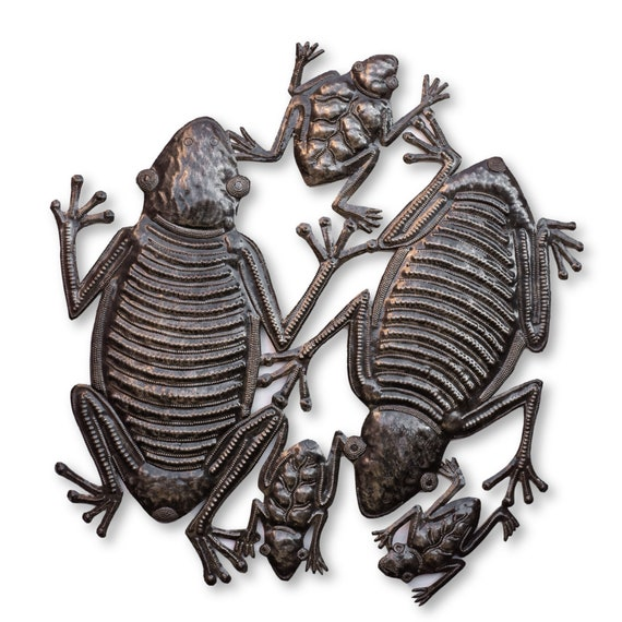Haitian Home Decor, Frogs in Pond Handmade from Metal, One-of-a-Kind Fair Trade 22x21in.