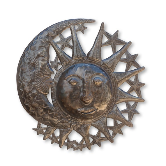 Eclipsing Moon Handcrafted in Haiti From Recycled Metal Art, One-of-a-Kind 22.5x23.5