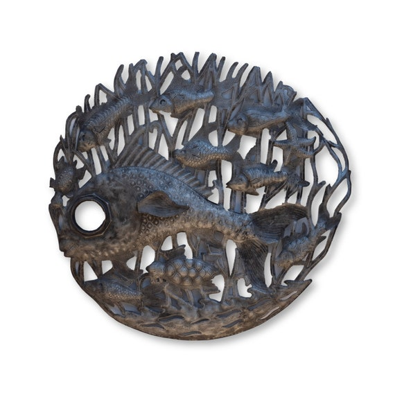 School of Fish Handcrafted in Haiti from Recycled Metal Art, One-of-a-Kind 22x22