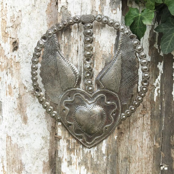 "Small Metal Rosary, Heart with Wings, Devotional Art, Love and Friendship Novelty Gift Handmade in Haiti 7.25 "" X 8.25"""