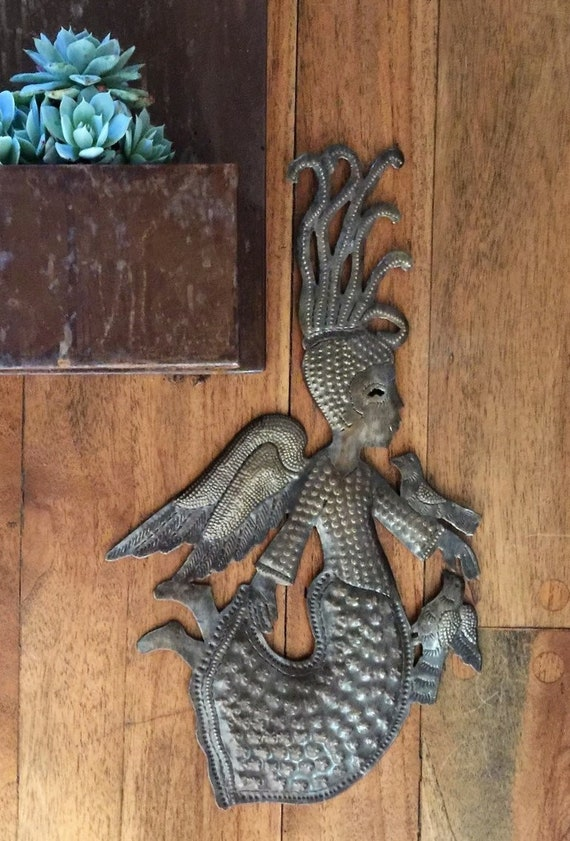 """Small Fluttering Angel, Novelty gift, Recycled Haitian Metal Art, 9"""" x 16"""""""