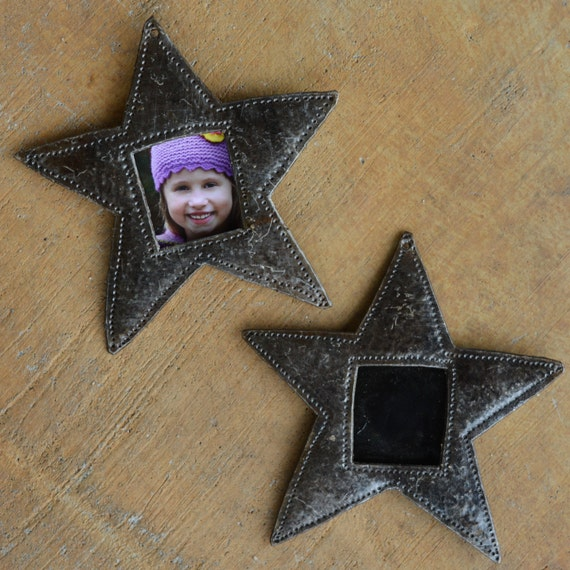 "Star Metal Picture Frame Ornament, Christmas Tree Decor, Place Setting, Hang Tag, Personalized Gift,  4 1/2"" x 4 1/2"" (sold in sets of 2)"
