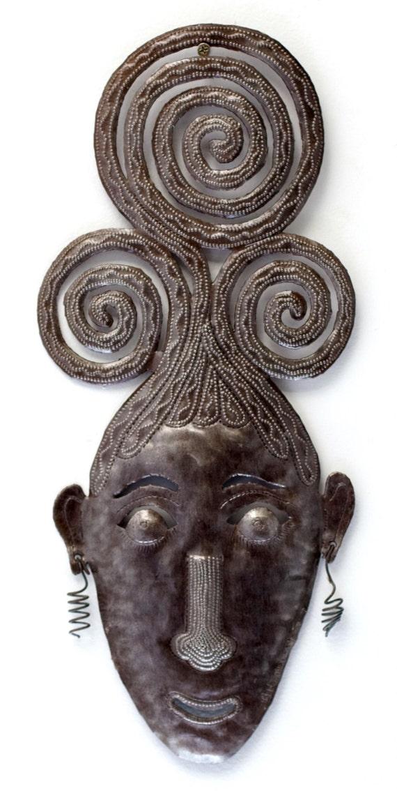 "Swirly Girl Mask Haitian Metal Art, Indoor and Outdoor Home Decor  7.5"" X 17.5"""