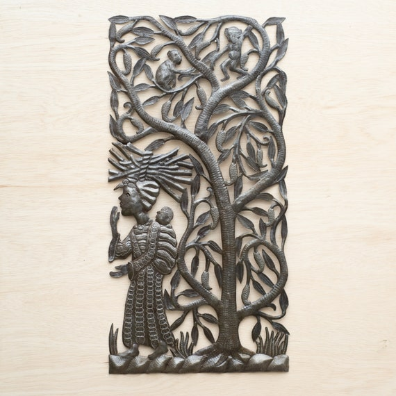Finding Wood with the Baby Large Metal Sculpture Handmade in Haiti, One-of-a-Kind 17x34