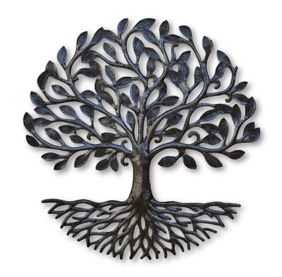 Small Living Tree of Life, Metal Artwork, Large Round Accent trees, Wall Art, Handmade in Haiti 17.25""