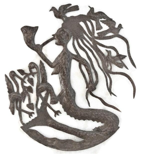 Haitian Mermaid, Haitian Metal Craftsmanship, One-Of-A-Kind 23.5x22.5