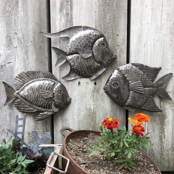 Nautical Fish, Set of 3, Sea Life Home Art, Fisherman's Catch, Wall Hanging Haitian Metal Decor
