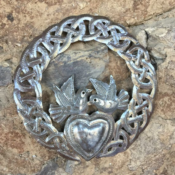 Small Claddagh Ring, Love Friendship, Wall Plaque Figurine, Metal Celtic Unique designs, Novelty Gift 6""