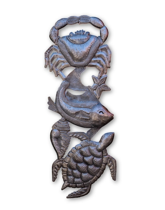 Under The Sea, Quality Haitian Nautical Art, Limited Edition Sculpture 17 x 6.5