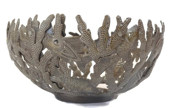 "Great for Kitchen or Bathroom, Handmade Metal Bowl, Sea Life Design Fruit Bowl, 7"" x 12"" x 12"""