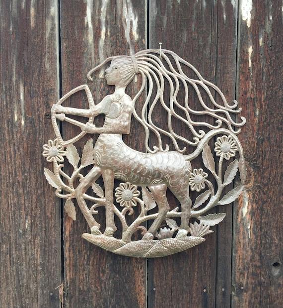 """Female Centaur, Haiti Metal Art Half Horse half woman 23"""" x 23"""" RND885"""