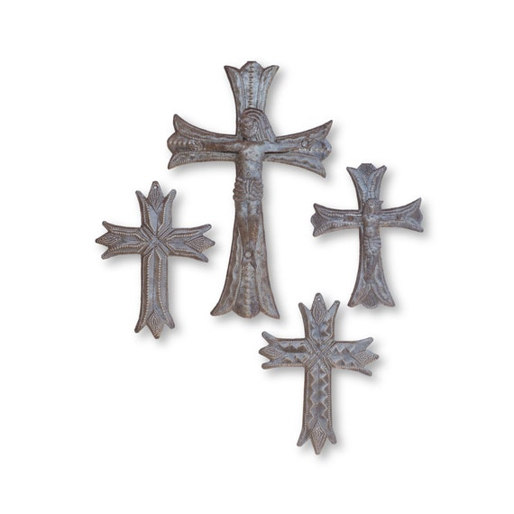 Jesus on the Cross, Haitian Metal Religious Sculptures, One-of-a-Kind Crosses