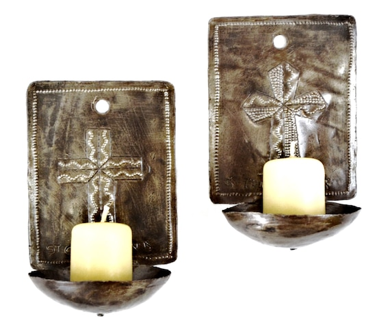 "Wall Sconces Candle Holders Cross Design , Haiti (candles not included)  4"" x 6"" x 3"""
