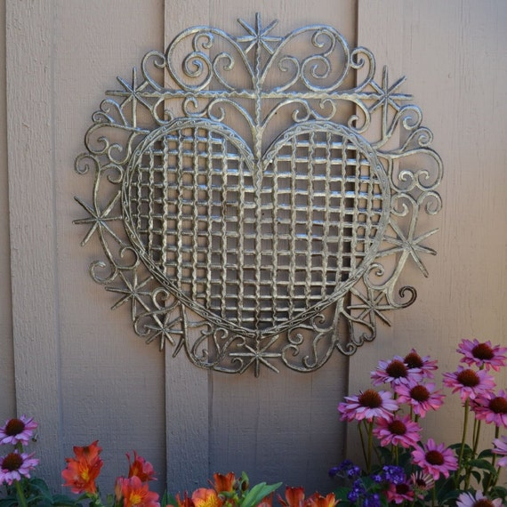 """Heart, Traditional Haiti Symbol of Protection and Love, Recycled Metal Wall Art 23"""" X 22.5"""""""
