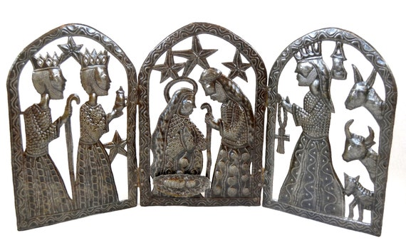 "Triptych Nativity for Christmas,  Handmade in Haiti from Recycled Metal, 34"" x 15"""