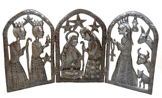"Tryptic Nativity for Christmas Haitian Metal Art 34"" x 15"""