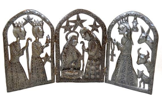 "Tryptic Nativity for Christmas Haitian Metal Art 34"" x 15"""