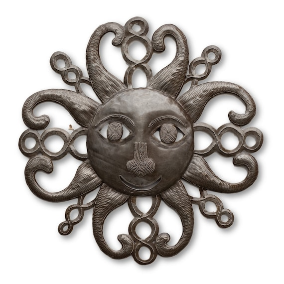 Cheerful Radiant Sun, Haitian Recycled Metal Sculpture, Limited Edition 17.5x17