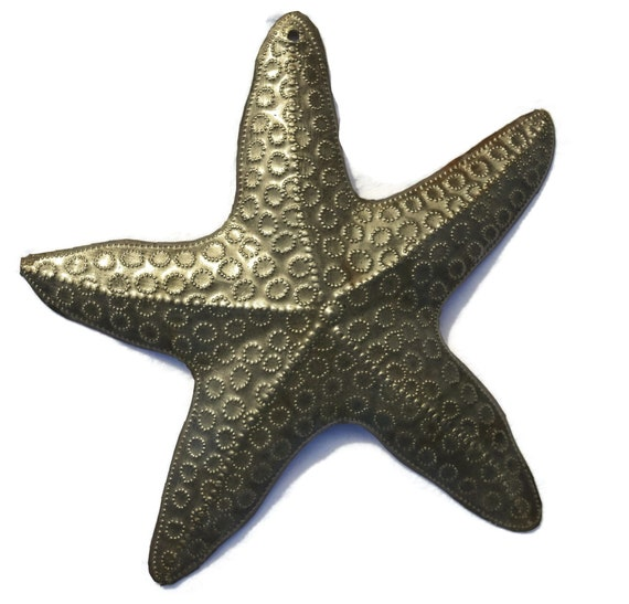 "Starfish, Nautical Home Decor, Recycled Wall Art, Novelty Gift 8""x 8"""