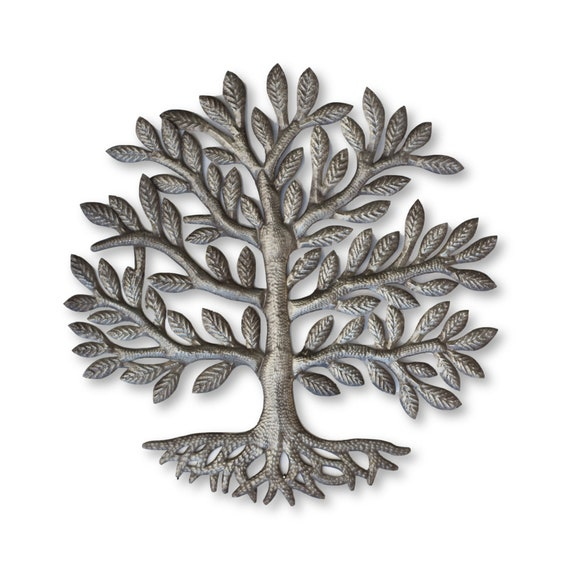 Haitian Garden Decor, Leafy Tree of Life Handmade Metal Sculpture, Fair Trade 23x23in