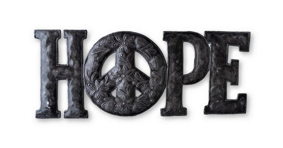 "Hope & Peace Metal Wall Art, Reclaimed Word Sign, Home Decor, Handmade in Haiti 20""x 8"""