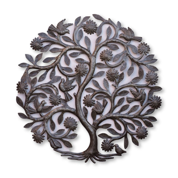 Haiti Metal Decor, Handmade Metal Floral Tree of Life, Fair Trade One-of-a-Kind Art, 23.5x24in.