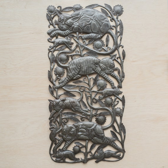 Cats Chasing Mice in Haiti Large Metal Sculpture Handmade in Haiti, One-of-a-Kind 16x33.5