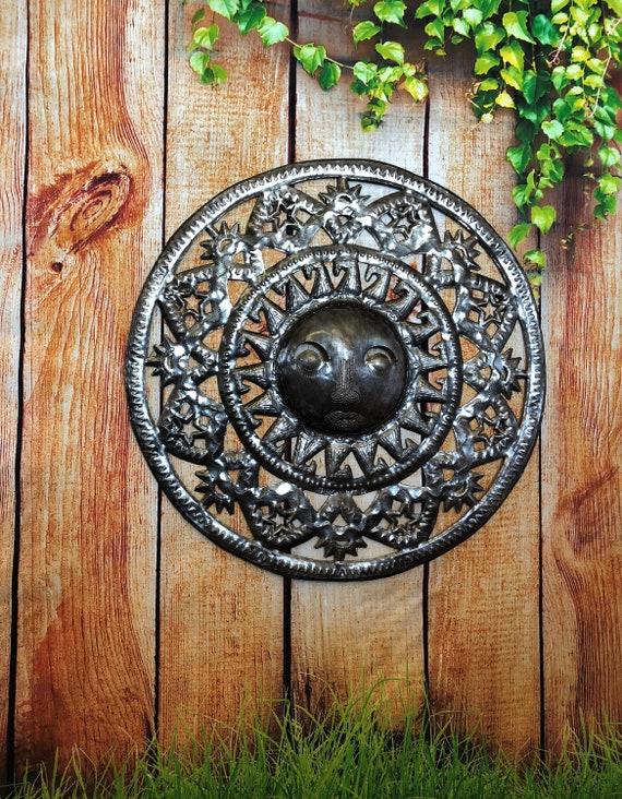 "Metal Wall Art Sun, Indoor and Outdoor Home decor, Handmade in Haiti 17"" x 17"""