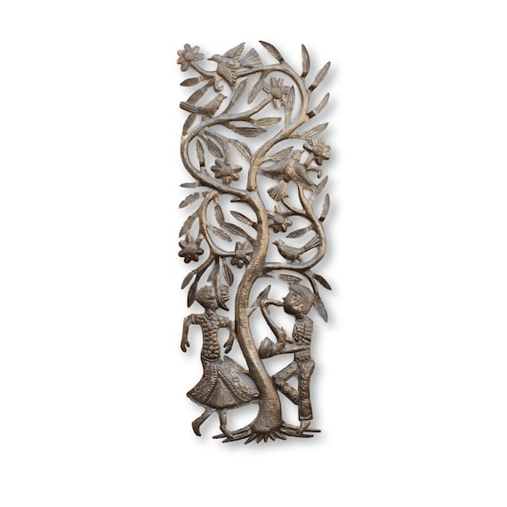 Musical Tree with Man & Woman Dancing, One-of-a-Kind Handcrafted Art 35x13