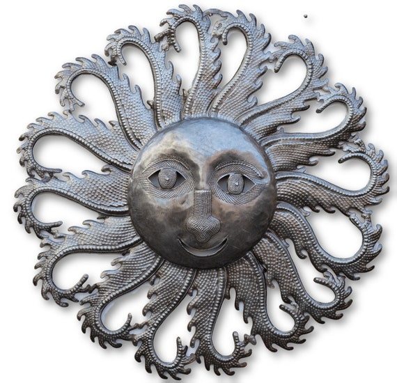 Fiery Haitian Sun Made From Reclaimed Metal, One-of-a-Kind Sculpture 22.75x22.5