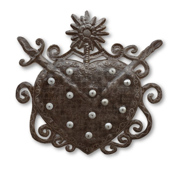 Voodoo Heart, Haitian Religious Handcrafted Metal Sculpture, Limited Edition 16x16